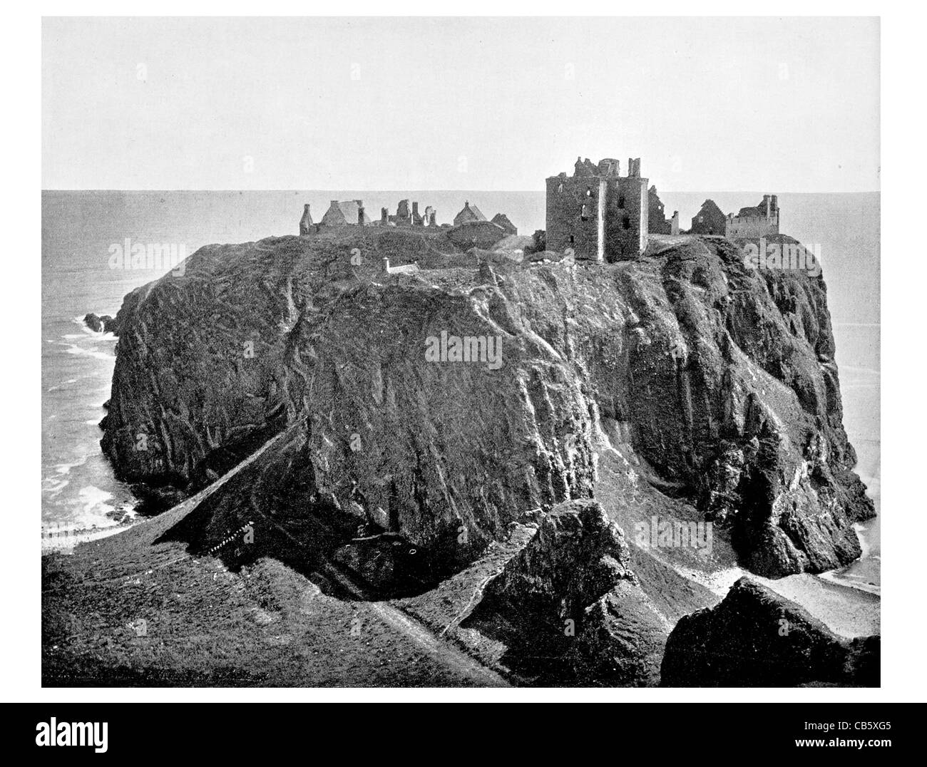 Dunnottar Castle ruined medieval fortress located coast Scotland Middle Ages Enlightenment tourist attraction - Stock Image