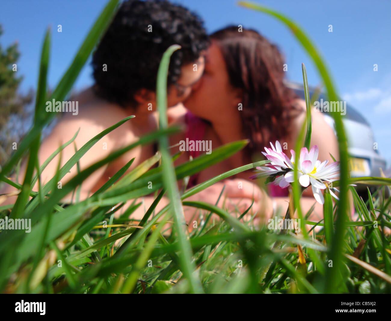 Loving couple kiss - Stock Image
