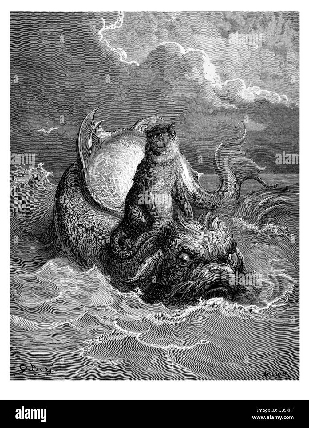Fontaine Le Singe et le Dauphin The Monkey and the Dolphin riding waves ocean sea mythology mythical myth beast - Stock Image