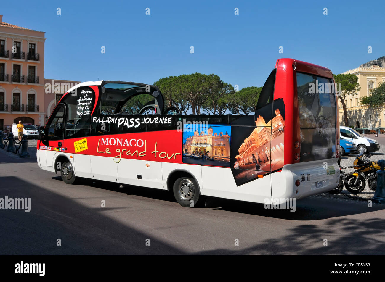 Tour Bus Monte Carlo Monaco Principality French Riviera Mediterranean Cote d'Azur Alps Stock Photo