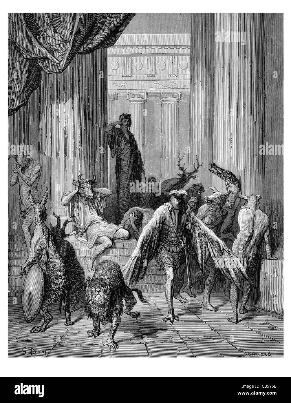 companions of Ulysses Greek mythology mythical monster Minatour beast ancient bull eagle crocodile antler lion fawn - Stock Image