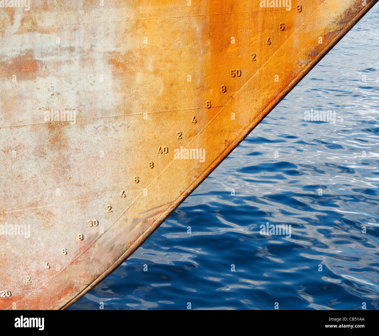 Draft markings on bow of ship - Stock Image