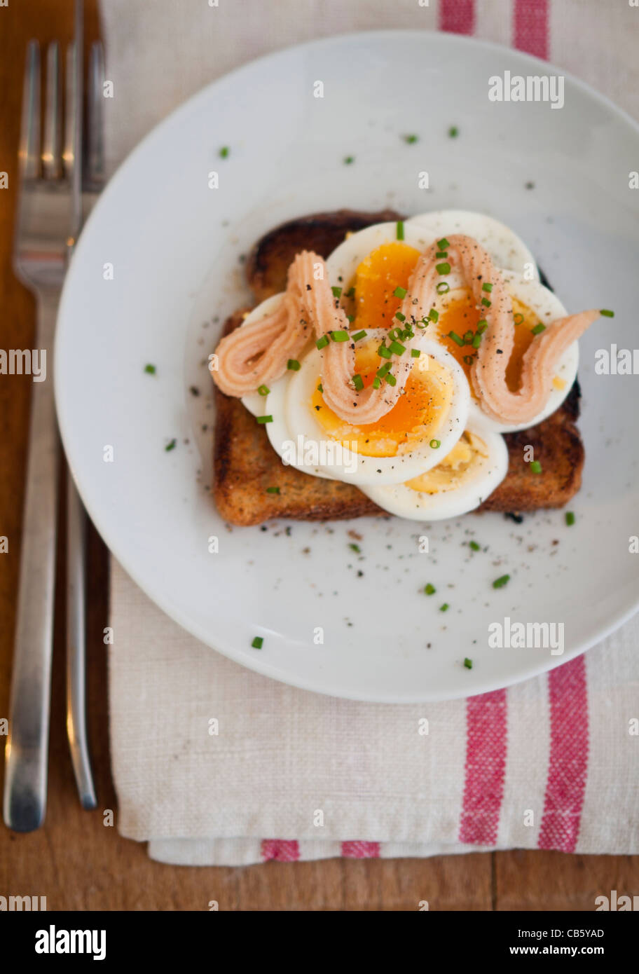Classic Swedish open faced sandwich of sliced boiled egg topped with Kalle's kaviar and sprinkled with chopped chives. Stock Photo