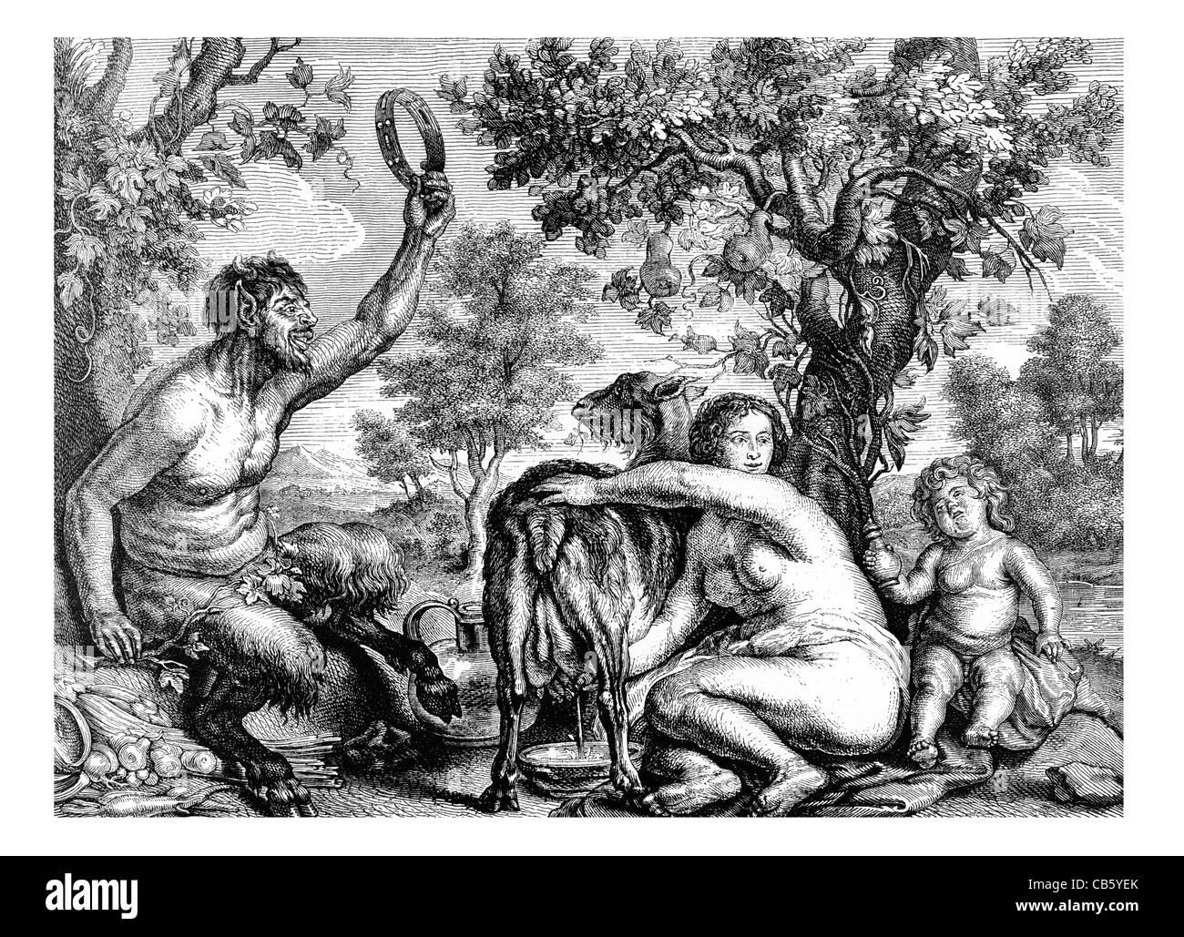 Jupiter and the Goat Jacob Jordaens Greek myth mythological beast fawn child man woman milking goat allegorical - Stock Image