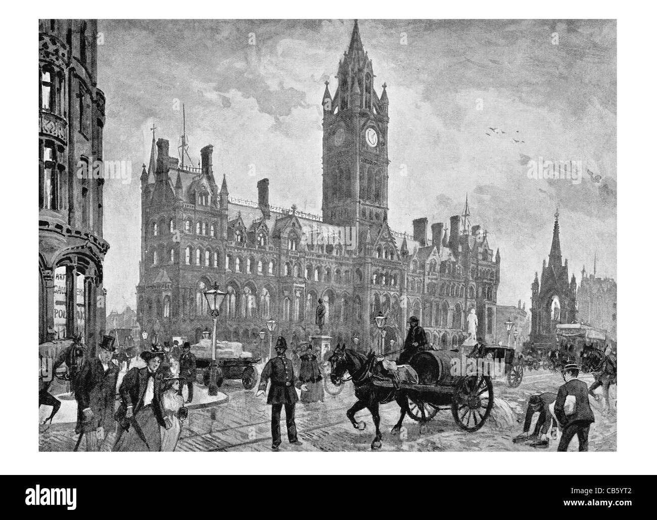 Manchester Town Hall Victorian Era Neo Gothic Architecture Municipal Building City Council Alfred Waterhouse
