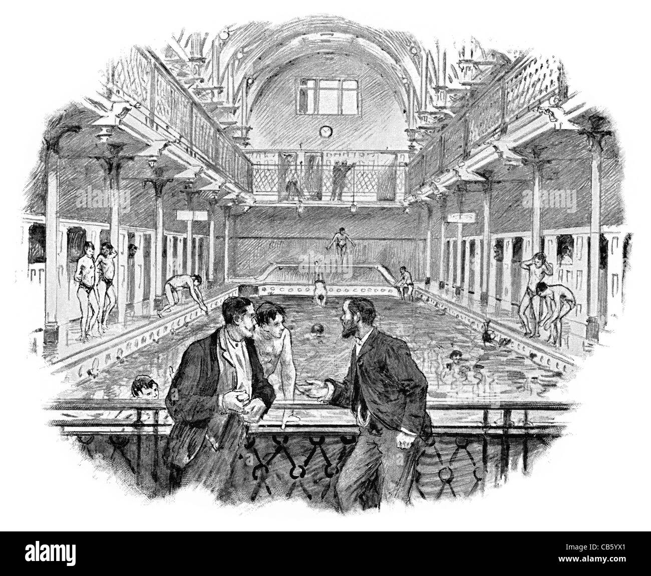 Leaf street Baths swimming pool swimmer bathing diving board paddling trunks swim changing rooms room bath - Stock Image