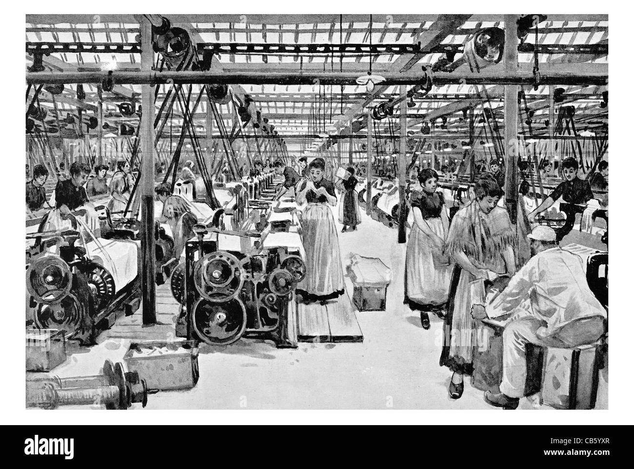weaving shed Haworth's Mills Ordsall textile fabric design clothing cloth clothes cottage industry cotton wool - Stock Image
