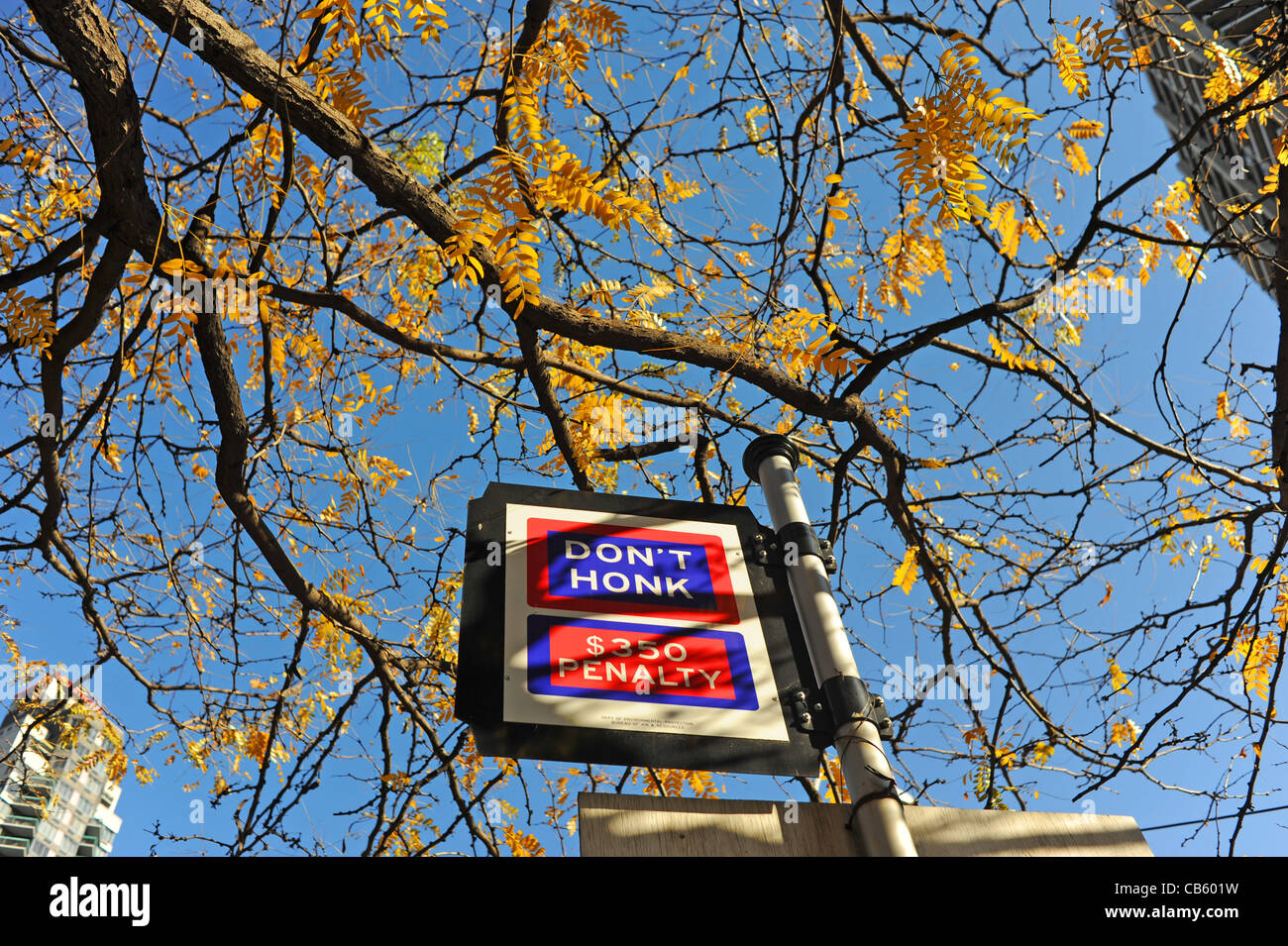 Don't Honk fine sign in Manhattan New York NYC USA Photograph taken November 2011 - Stock Image
