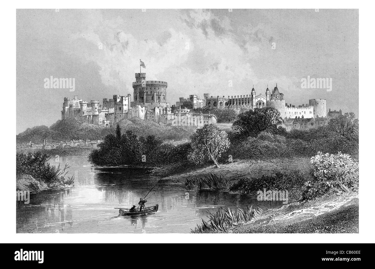 Windsor Castle medieval castle residence English Berkshire British royal family London river Thames fishing fisherman - Stock Image