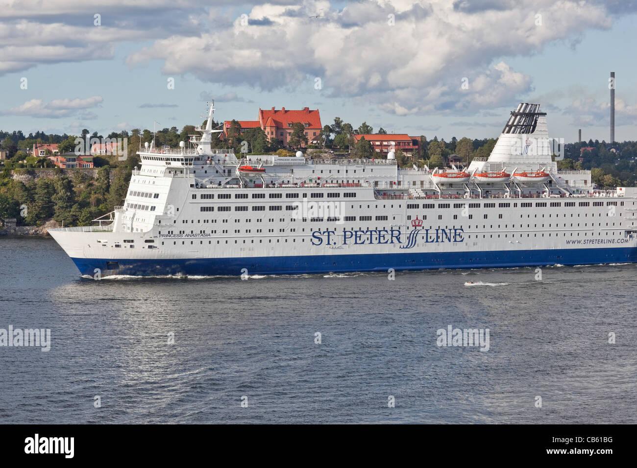 Cruise Boats in Stockholm Archipelago;Sweden;Scandinavia;Europe - Stock Image