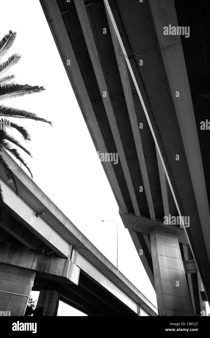 View from below looking up under a flyover near Sydney Harbour, Australia - Stock Image