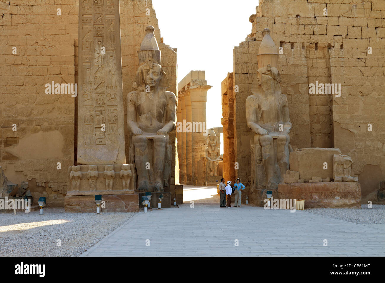 The entrance of Luxor Temple at dawn - Stock Image
