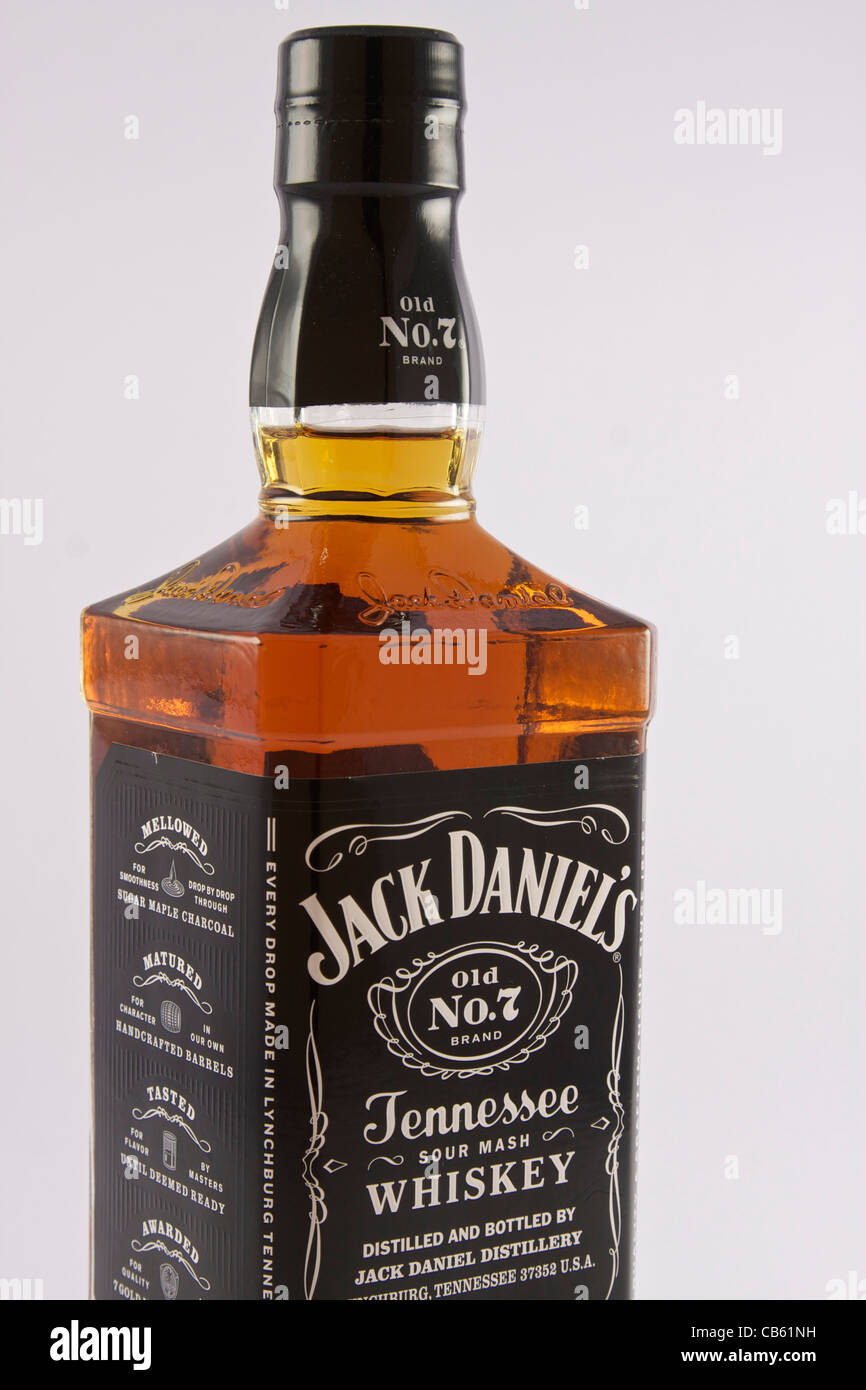 d40b6c2497e8f Closeup of a bottle of Jack Daniels Old No.7 Tennessee Whiskey - Stock Image