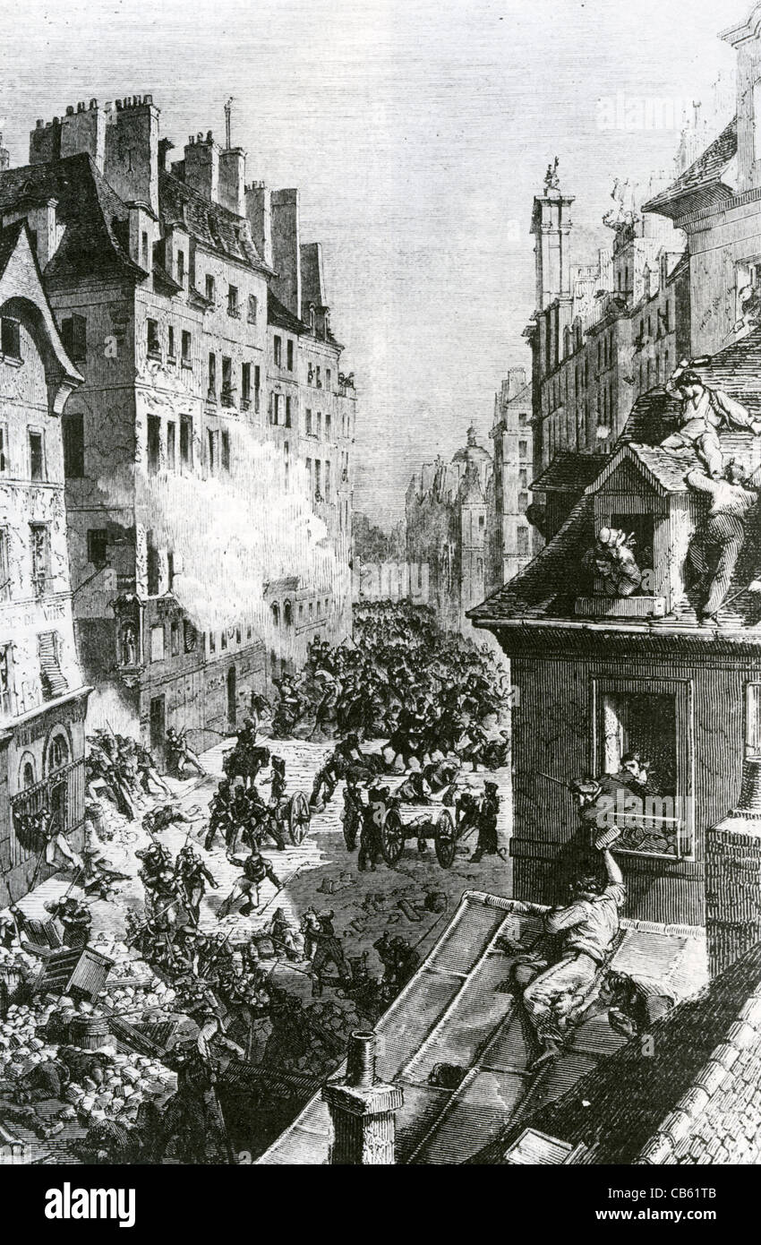 FRENCH REVOLUTION July 1830 - fighting in the Faubourg Saint-Antoine, Paris - Stock Image