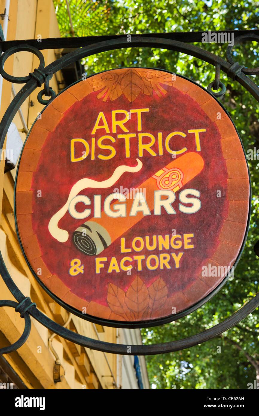 Cigar store sign on Calle Ocho (SW 8th Street) in Little Havana, Miami, Florida, USA - Stock Image