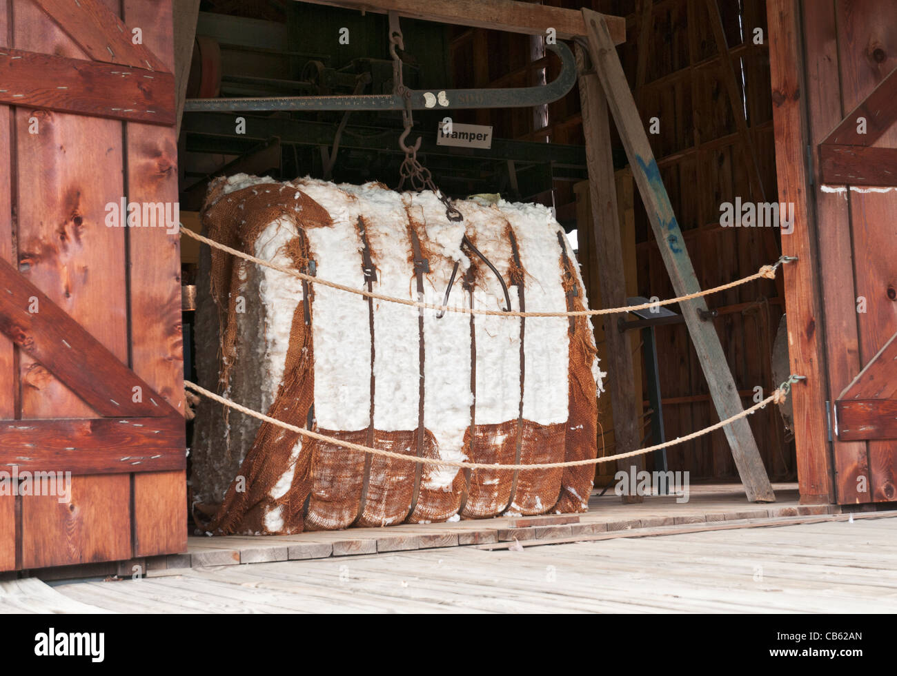 Alabama, Montgomery, Old Alabama Town, living history museum, cotton gin circa 1900, cotton bale - Stock Image