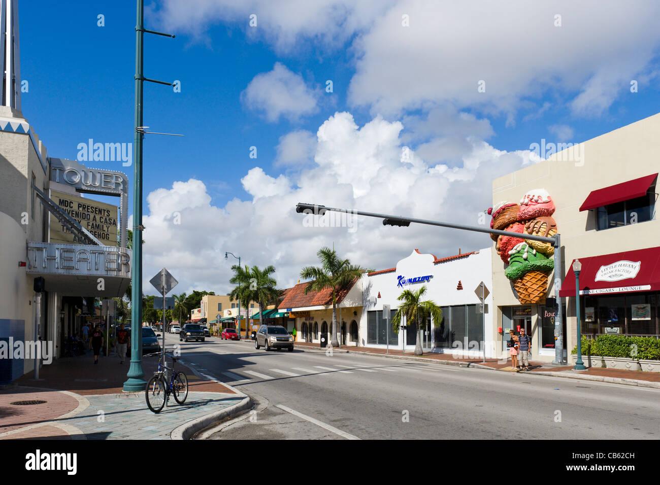 Calle Ocho (SW 8th Street) in Little Havana, Miami, Florida, USA - Stock Image
