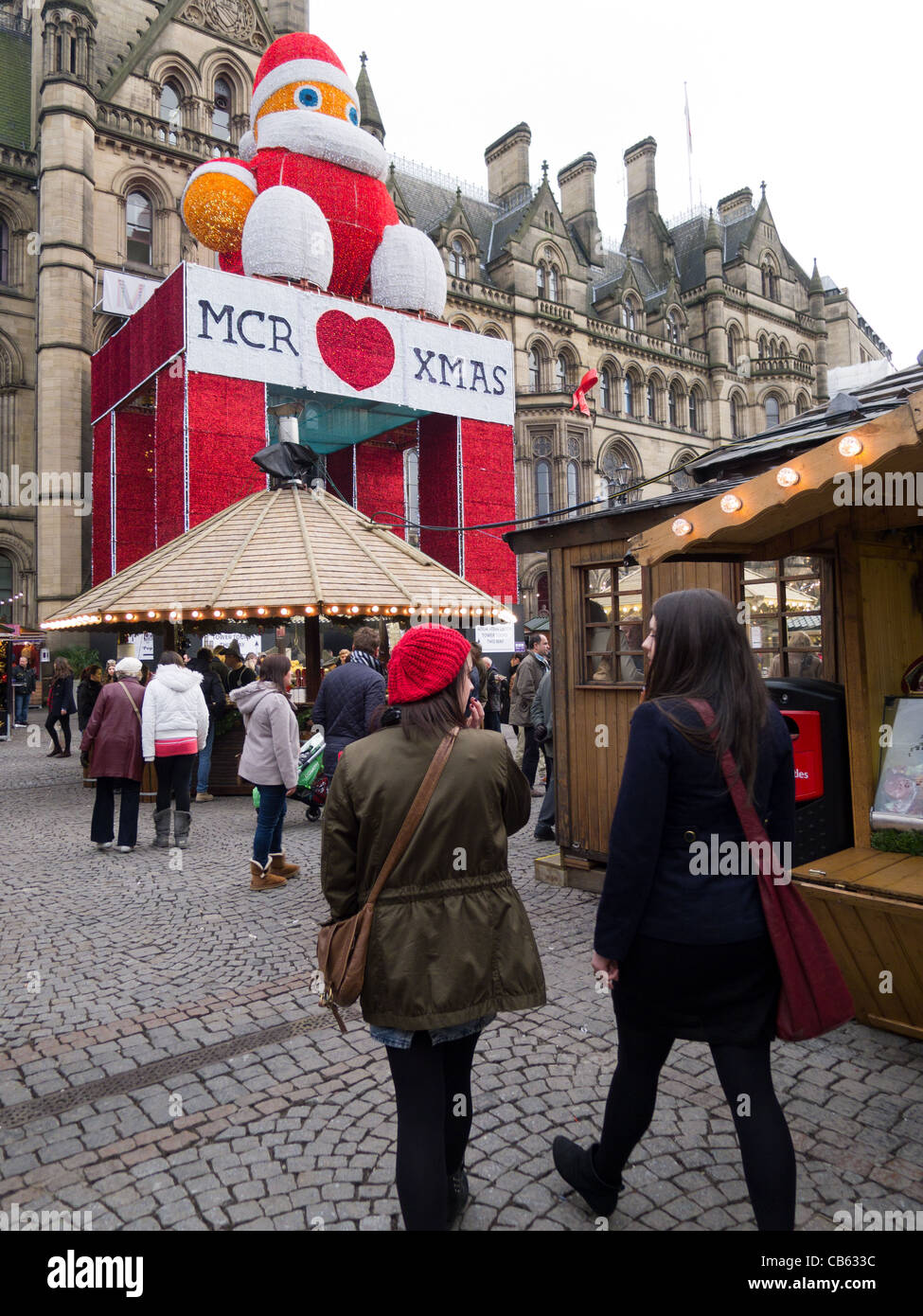 Manchester Christmas Market, Albert Square, Manchester - Stock Image