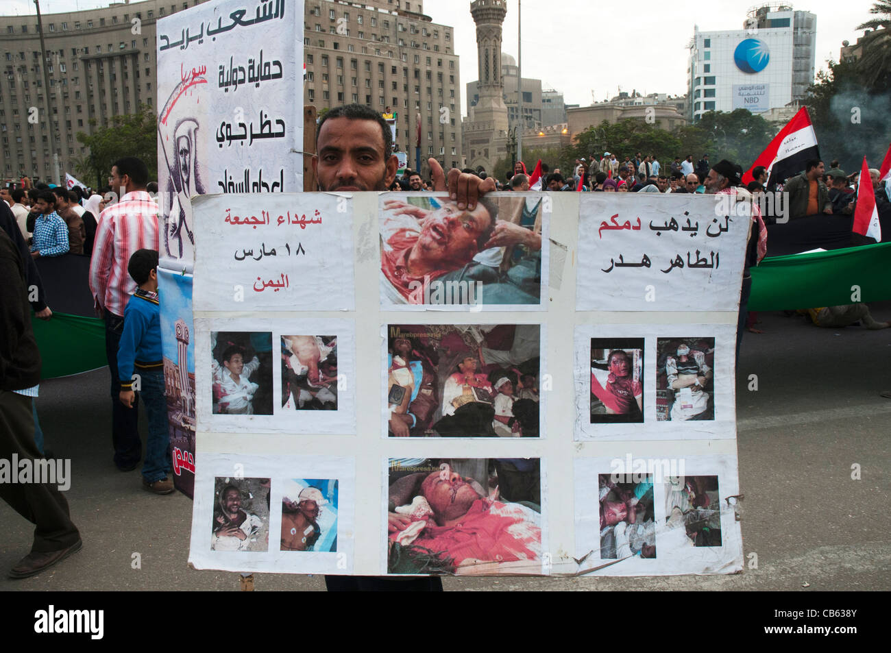 Protestor holds placard alleging brutality by security forces at demonstrations in Tahrir Square, Cairo, November - Stock Image