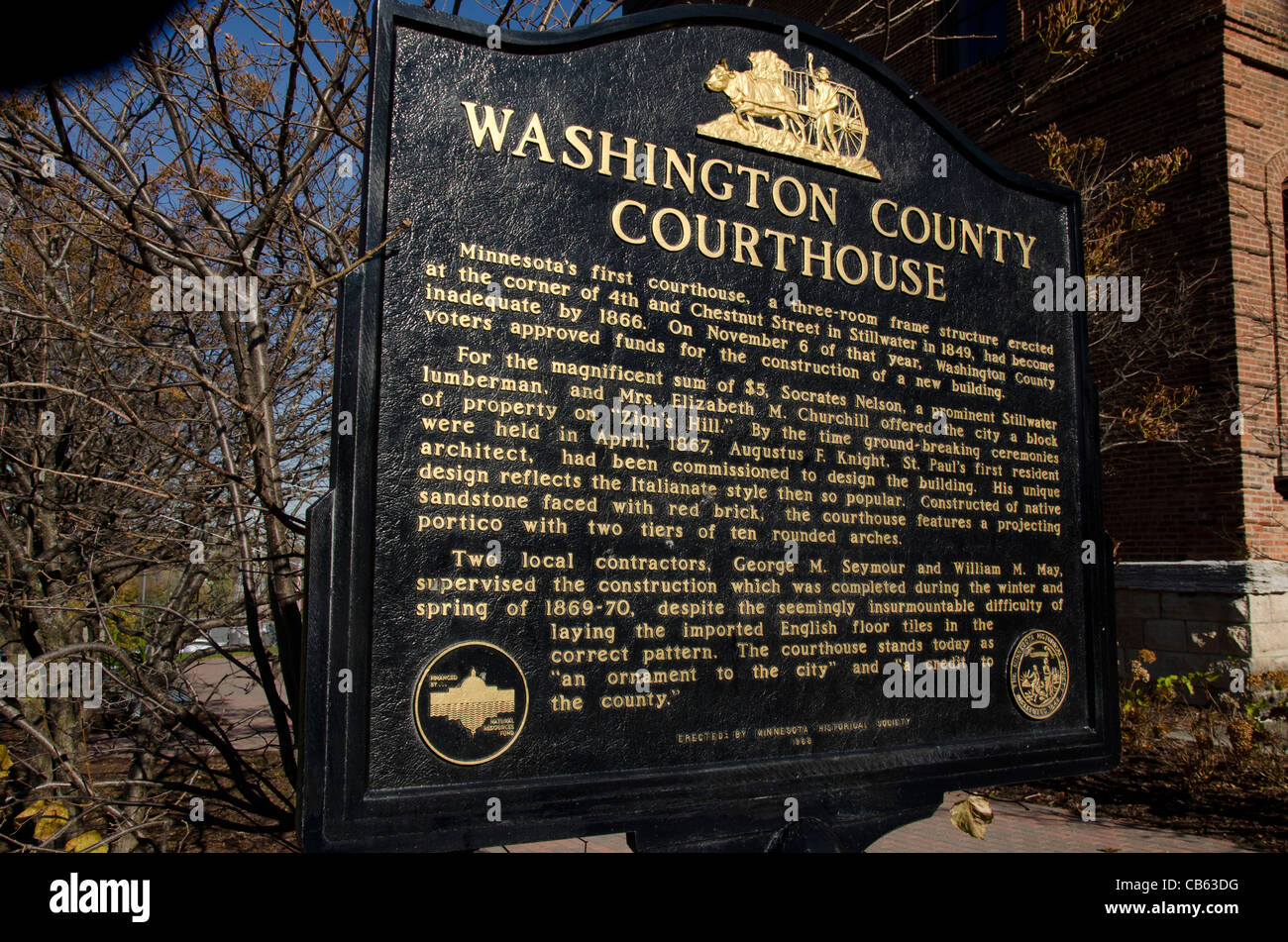 Sign for the Washington County Courthouse in Stillwater, Minnesota - Stock Image