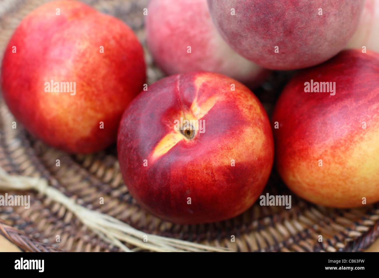 Ripe fresh nectarines - Stock Image