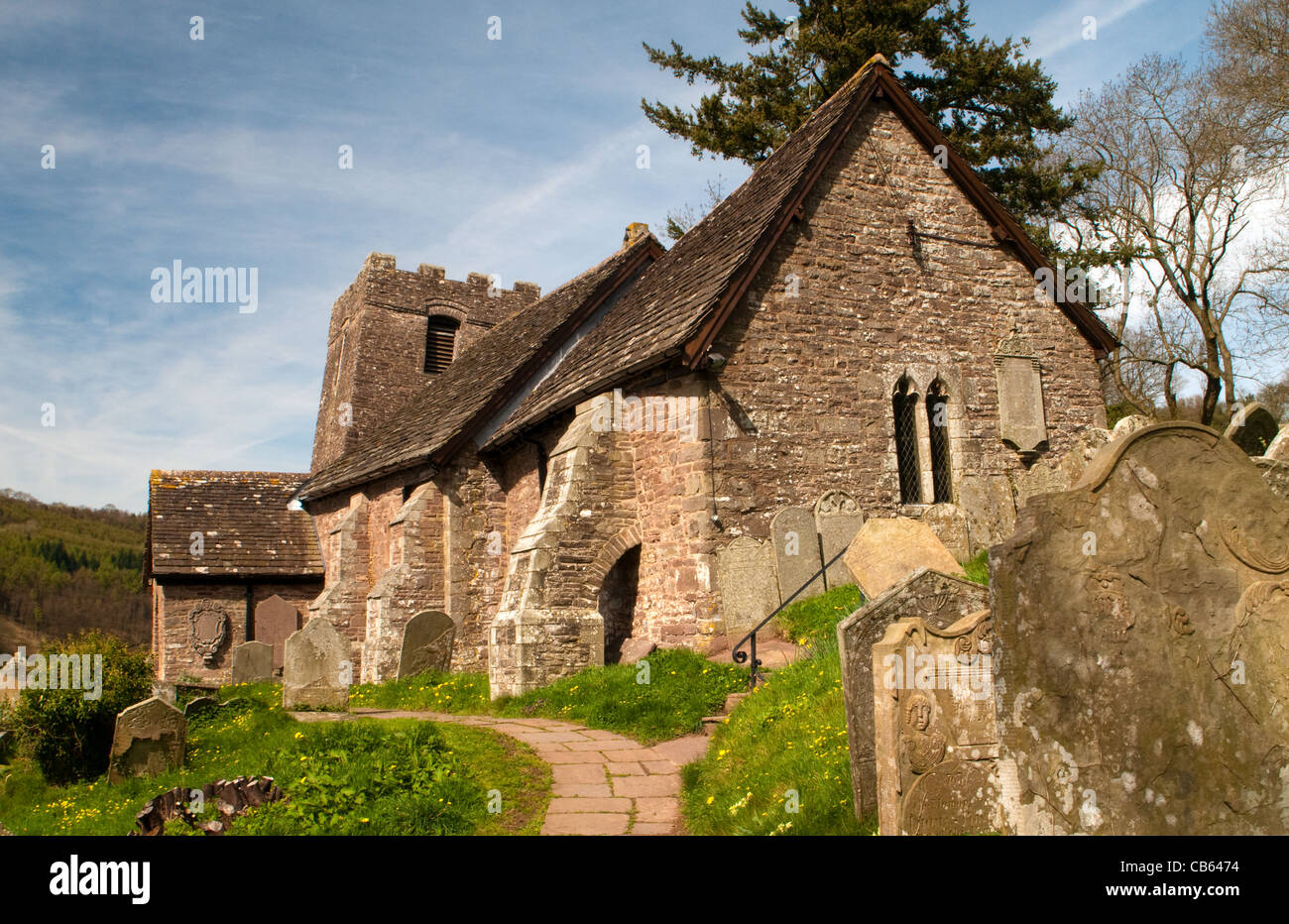 Cwmyoy Church Vale of Ewyas Black Mountains Wales - Stock Image