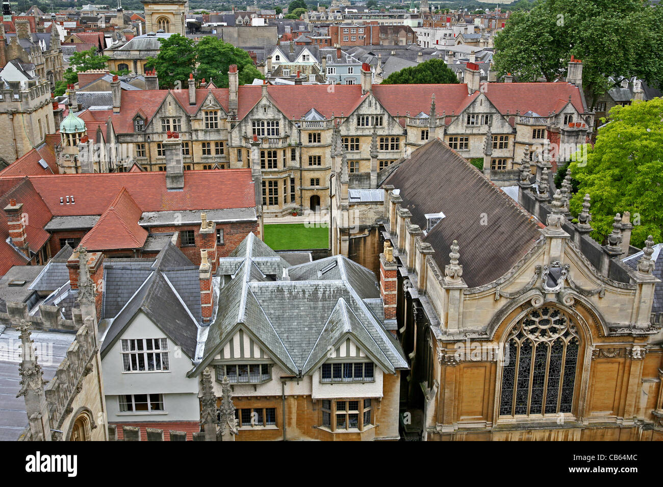 Oxford University Brasenose College viewed from above - Stock Image