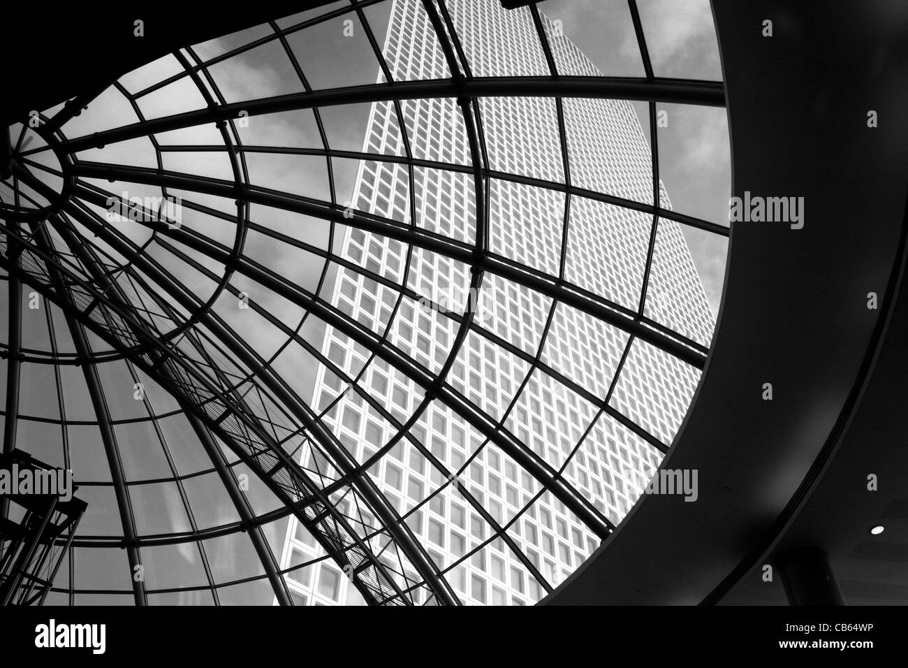 Cupola windows in Azrieli Centre and skyscraper Tel Aviv Israel - Stock Image