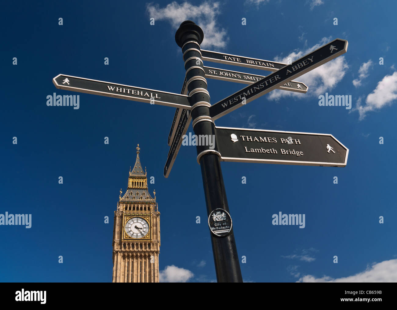 Sign post in Westminster directing visitors to various points of interest Big Ben Clock Tower in background London - Stock Image