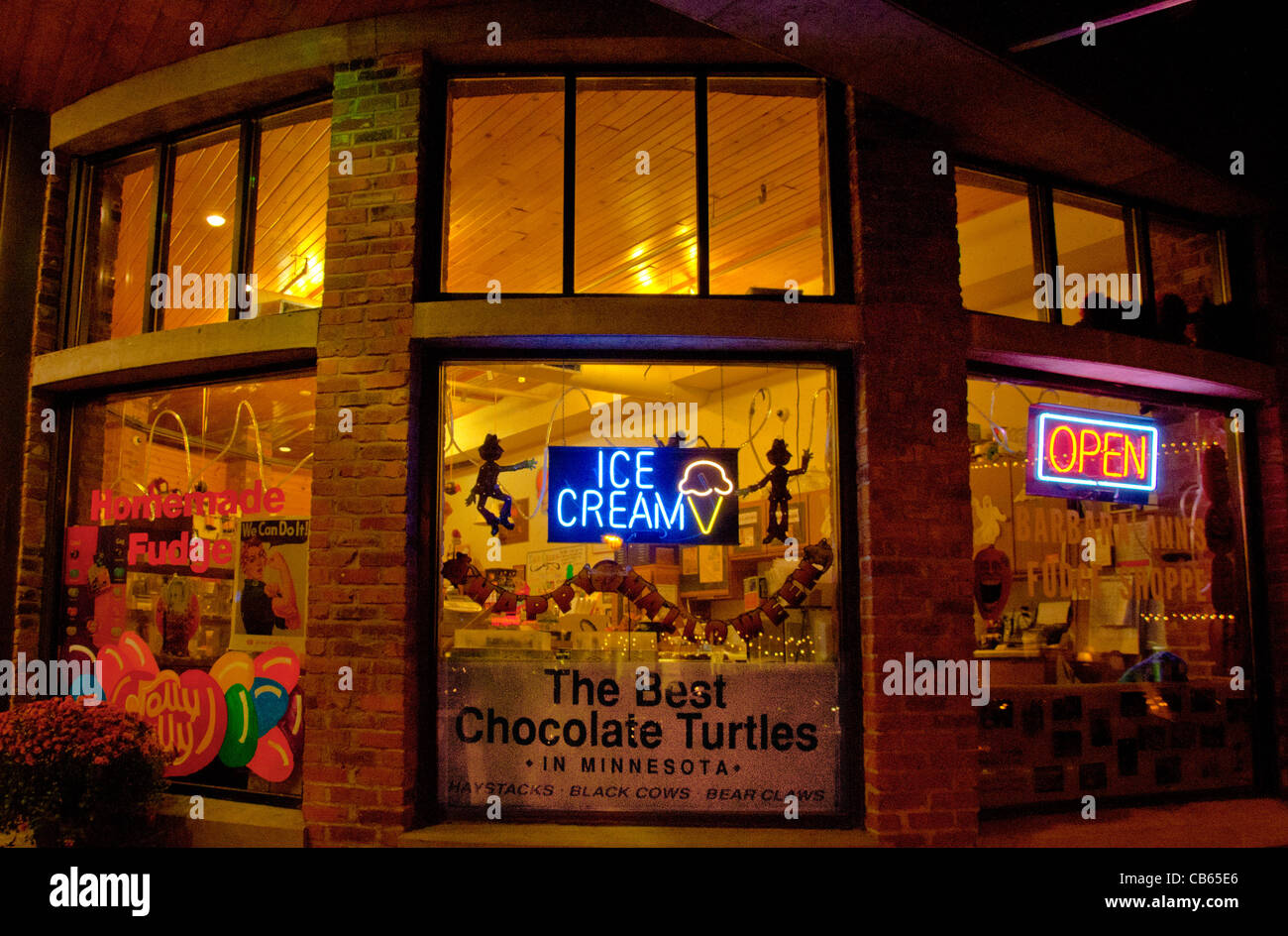 Barbara Ann's Fudge Shop on Main Street in downtown Stillwater, Minnesota, - Stock Image