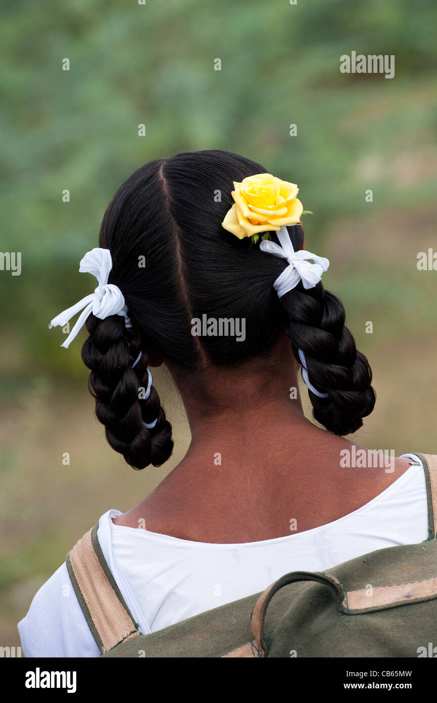 Indian School Girls Traditional Hair Style With Plaits Bows And A