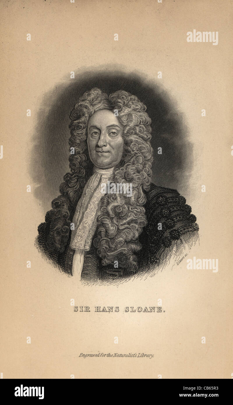 Portrait of Sir Hans Sloane (1660-1753), collector of cabinets of curiosities. - Stock Image