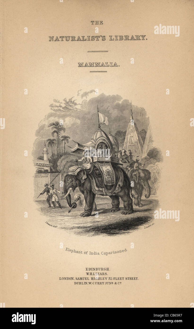 Title page with engraved vignette showing an Indian elephant caparisoned. - Stock Image