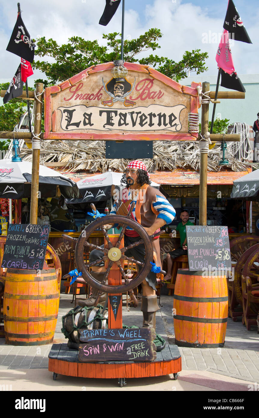 La Taverne bar with pirate statue on Front Street, Philipsburg, St Maarten Stock Photo