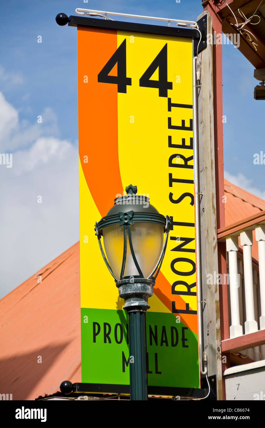 Philipsburg Front Street name banner and street lamp light St Maarten - Stock Image