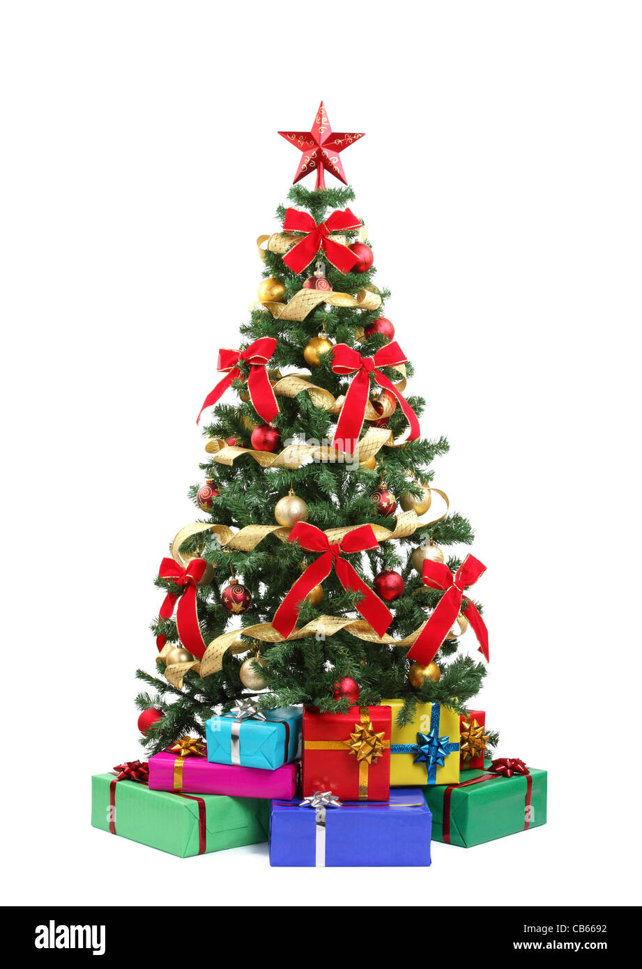 Christmas tree and gifts.Isolated on white. - Stock Image