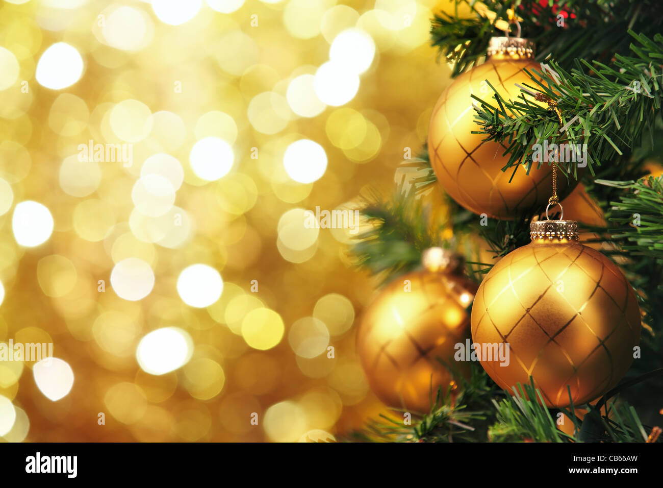 Closeup of Christmas-tree decorations - Stock Image