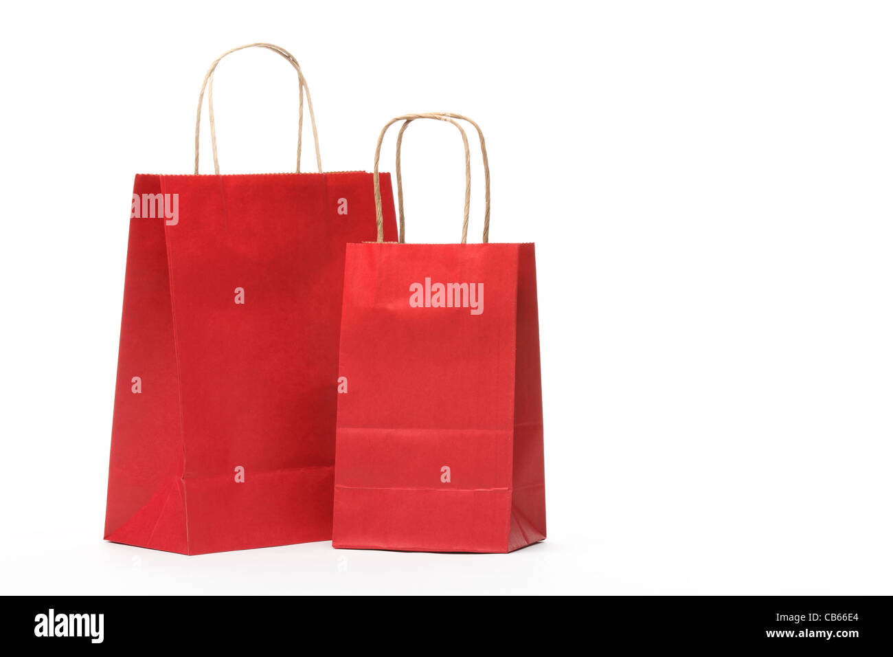 Paper shopping bags isolated on white background. - Stock Image