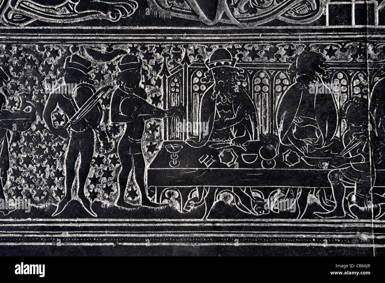 Detail. 1364 medieval memorial brass known as the Braunche Brass. St. Margarets Church, Kings Lynn, England. Minstrels - Stock Image