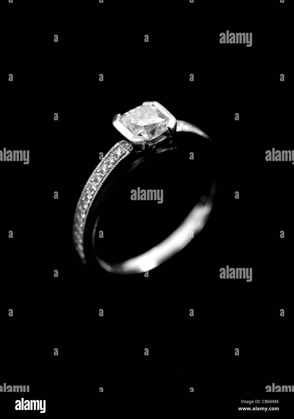 A close up shot of an engagement ring - Stock Image