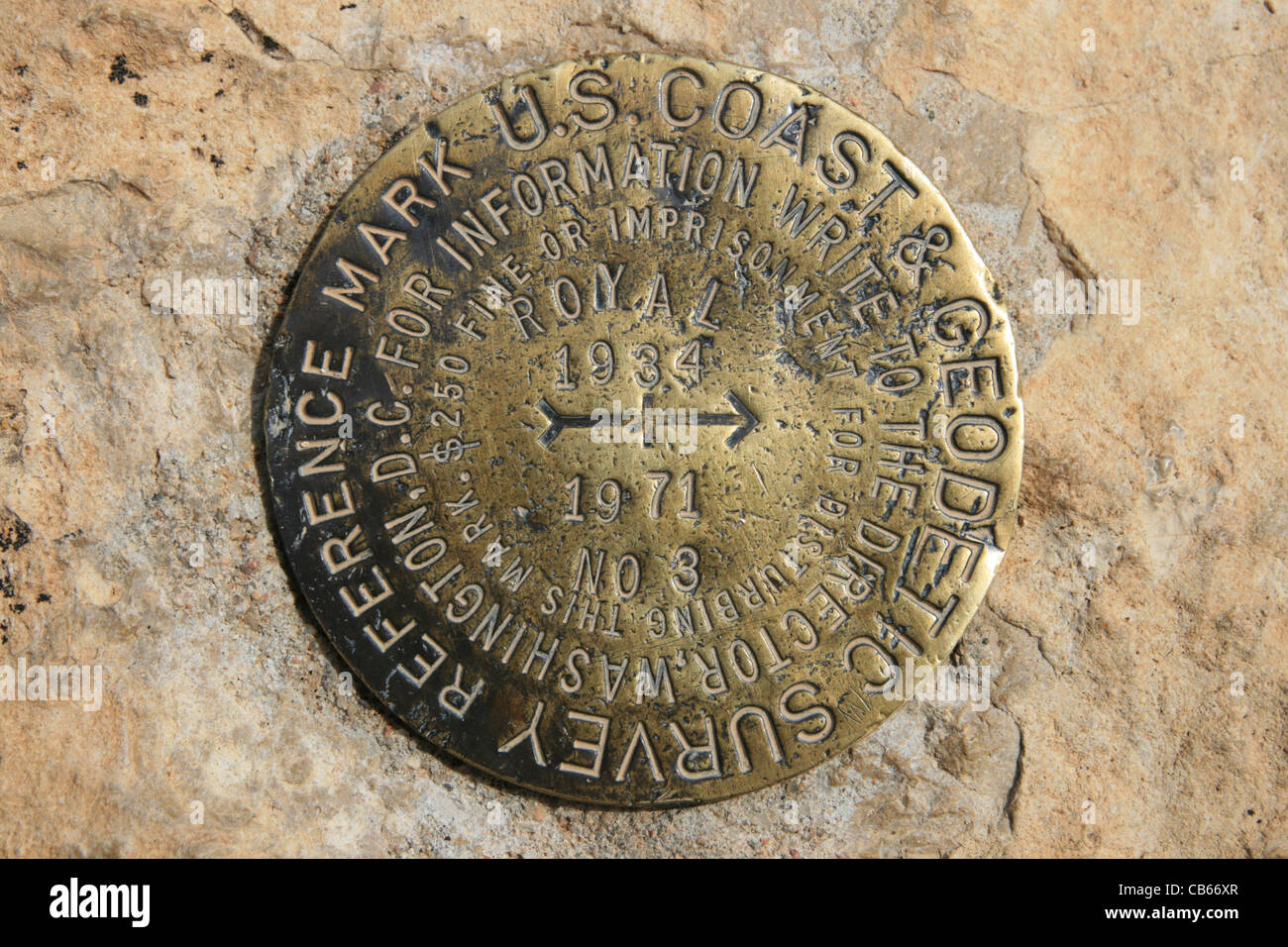 USGS bench mark reference marker at Cape Royal on the north rim of the Grand Canyon, Arizona - Stock Image