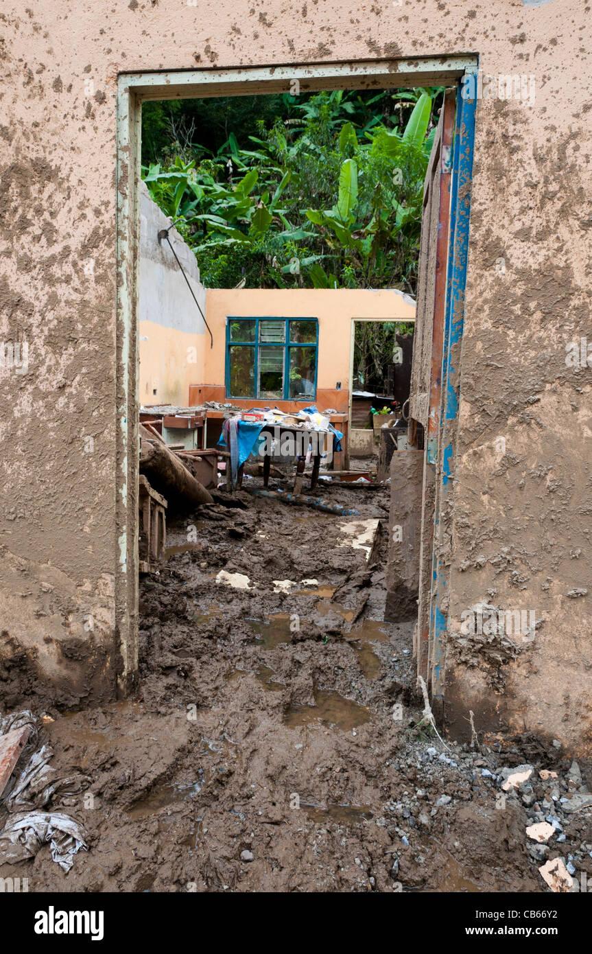 Landslides following heavy rains in the village of San Antonio de Escazú Central Valley Costa Rica November - Stock Image