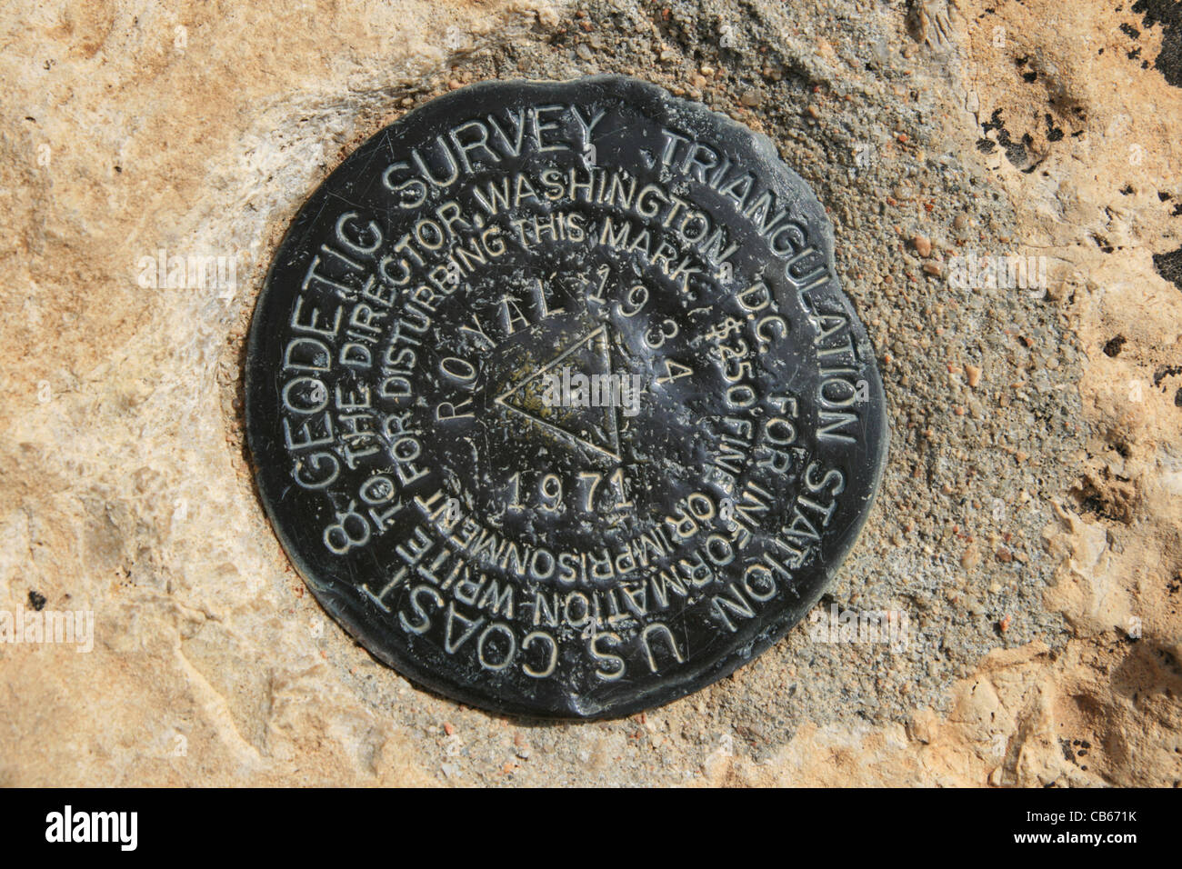 USGS benchmark at Cape Royal on the north rim of the Grand Canyon, Arizona - Stock Image