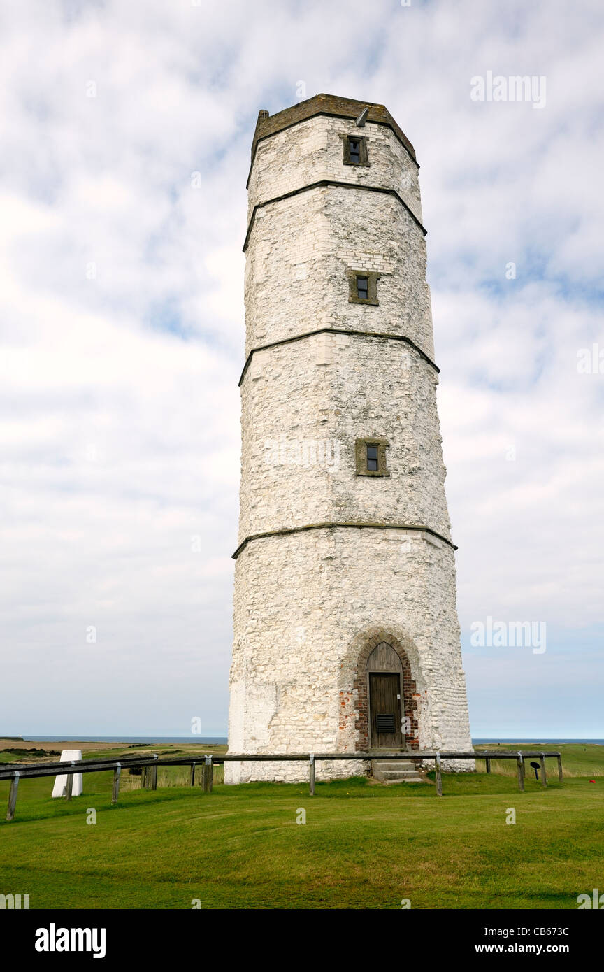 The Old Lighthouse, Flamborough Head. North Sea coast of East Yorkshire, England, UK. Built with chalk stone 1673 - Stock Image