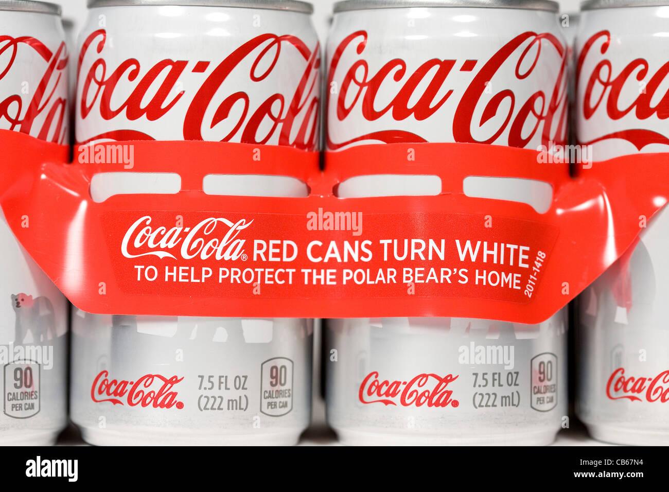 The Coca-Cola polar bear can.  - Stock Image