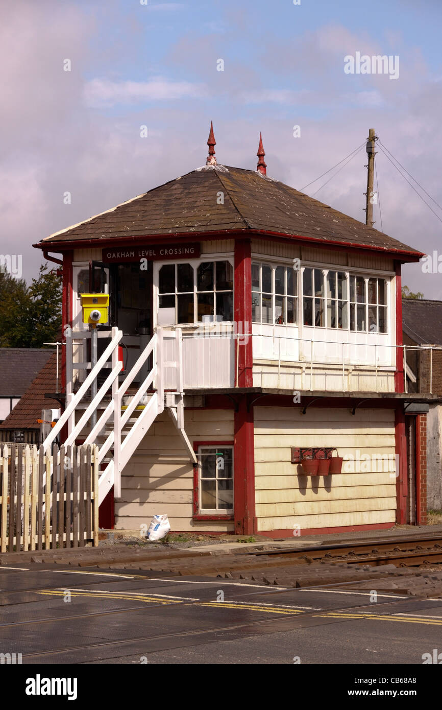 Old traditional railway signal box (used as inspiration for the Airfix kit model), Oakham, Rutland, England, UK - Stock Image