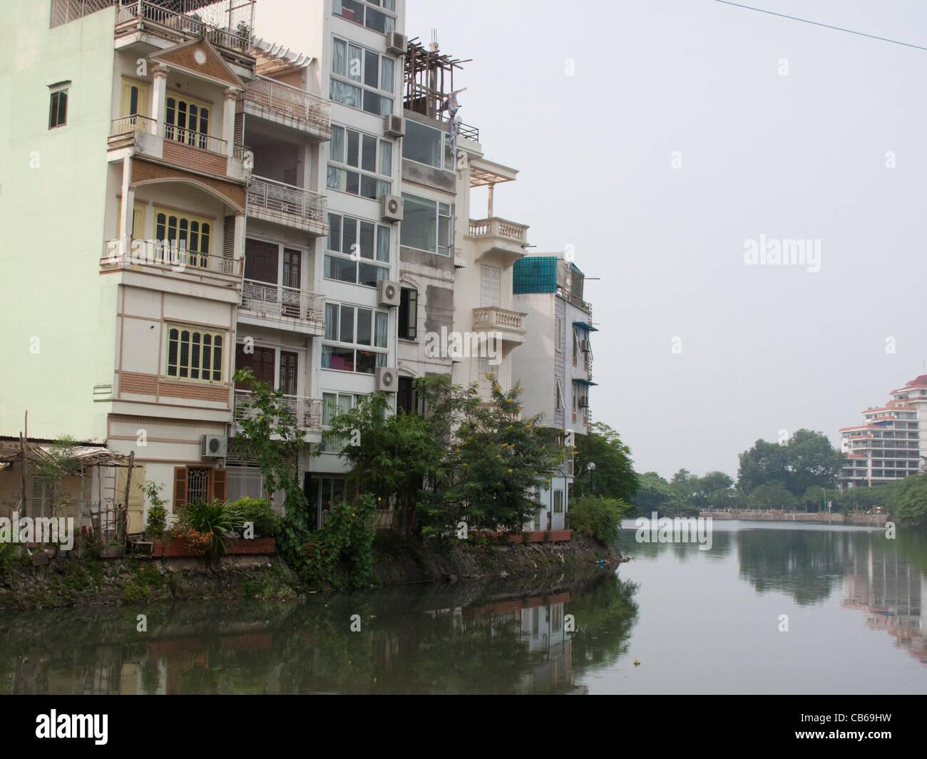 Houses on Truc Bach Lake in Hanoi, Vietnam - Stock Image