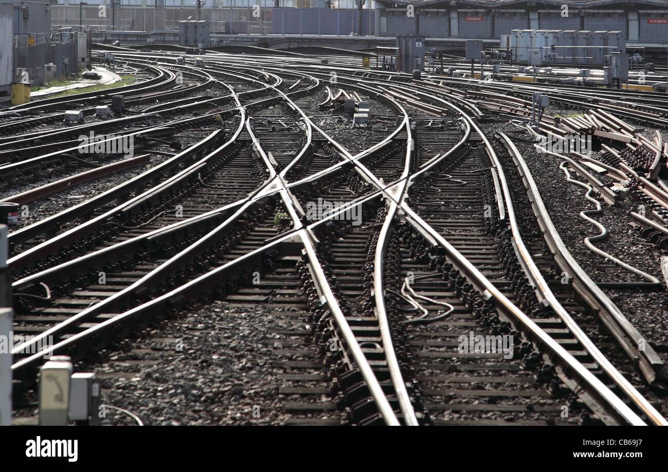 A complex layout of railway Tracks near Waterloo Station, London, UK - Stock Image