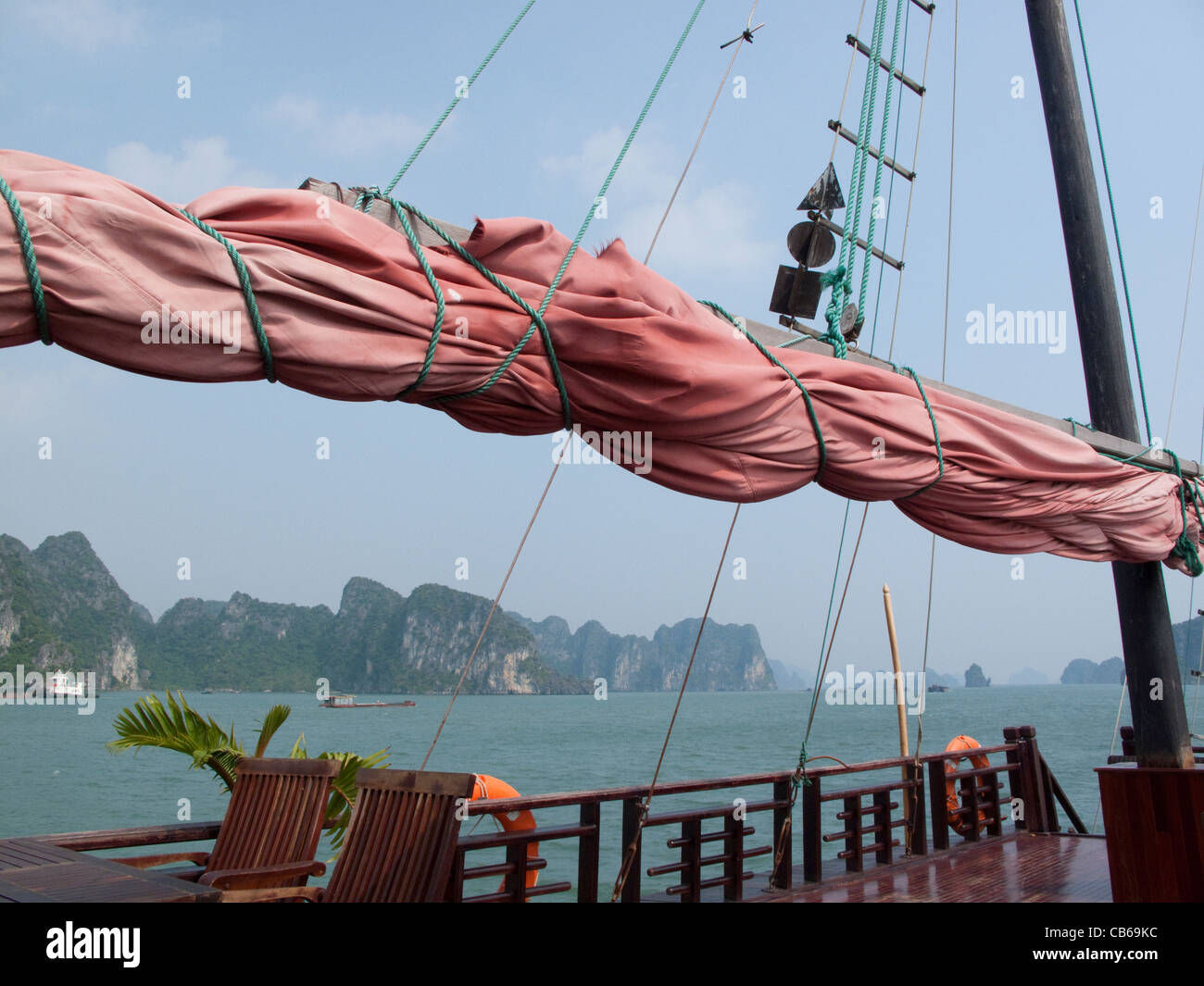 On board a Junk in the South China Sea, Halong Bay, Vietnam - Stock Image