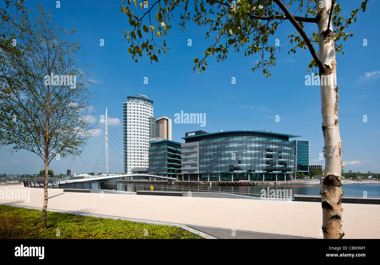 View across Salford Quays of Media City - Stock Image